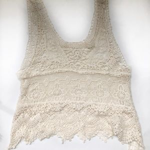 Tops - Ivory lace tank top